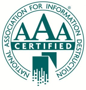 NAID AAA Certification, Tallahassee Shredding, Albany Shredding, Tifton Shredding, Valdosta Shredding